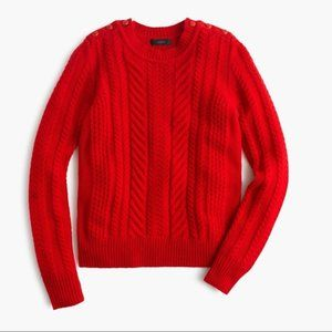 J.Crew Red Cable Knit Sweater Shoulder Buttons